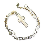 Beautiful Soul Silver and White Bone Cross Long Necklace