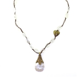 Beautiful Soul Mother of Pearl with Bronze Heart Necklace