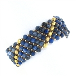 Chan Luu Sodalite & Gold Beads on Brown Leather Bracelet