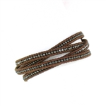 Chan Luu Gunmetal Wrap Bracelet on Brown Leather
