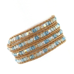 Chan Luu Light Blue Swarovski Crystals Wrap Bracelet