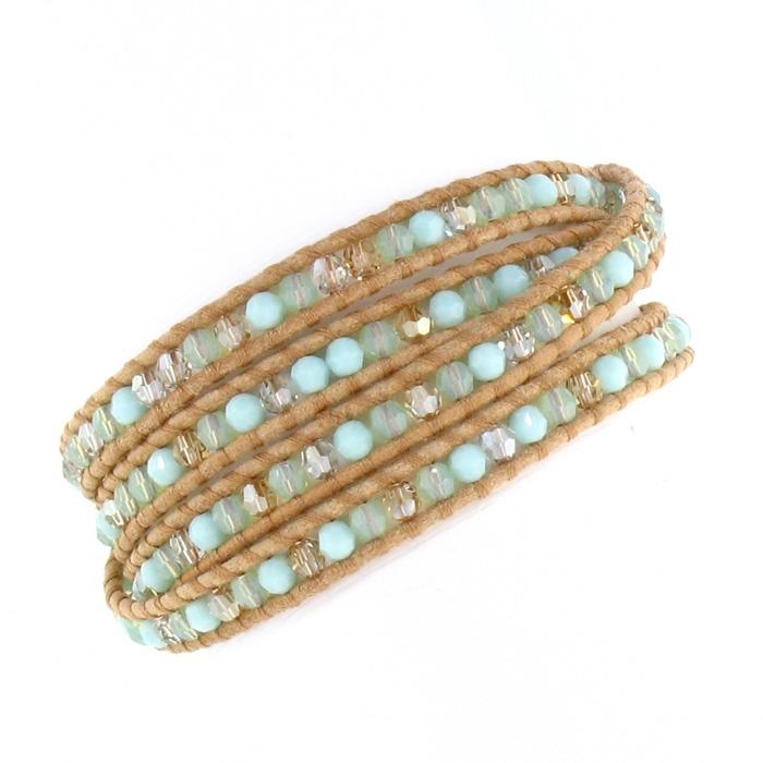 Chan Luu Mint Mix Swarovski Crystals Wrap Bracelet