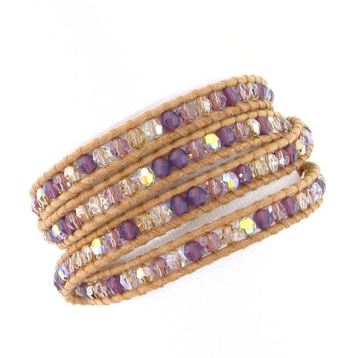 Chan Luu Purple Mix Swarovski Crystals Wrap Bracelet