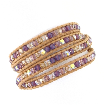 Chan Luu Purple Mix Swarovski Crystals Wrap Bracelet