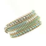 Chan Luu Mint Mix Crystals & Glass Seed Beads Wrap Bracelet