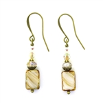 Christina Anastasia Bits of Bliss Tan Czech Glass Earrings