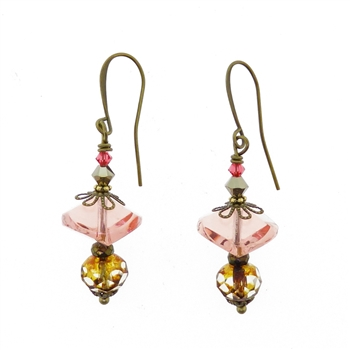 Christina Anastasia Rose Czech Glass Earrings