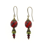 Christina Anastasia Bits of Bliss Red Tan Czech Glass Earrings