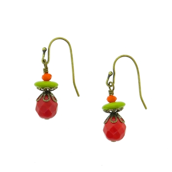 Christina Anastasia Bits of Bliss Christmas Red Chartreuse Earrings