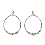 Christina Anastasia Sage and Peacock Big Hoop Earrings