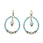 Christina Anastasia Czech Glass Teal Hoop Earrings