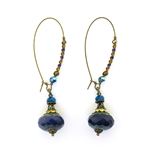 Christina Anastasia Navy Czech Glass Nomad Earrings