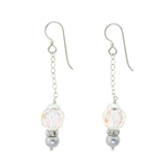 Christina Anastasia Swarovski Clear Crystal Aurora Borealis Earrings with Grey Pearl