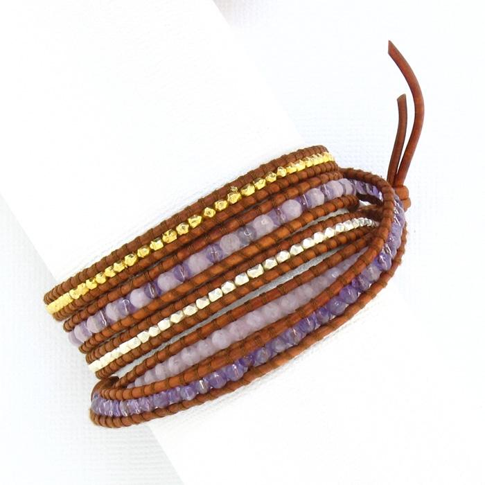 qualité incroyable chaussures de sport bonne vente de chaussures Chan Luu Lavendar Jade Wrap Bracelet - Natural Brown Leather