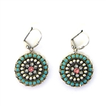 Clara Beau Turquoise Round Swarovski Wire Earrings - Silver Tone