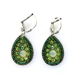 Clara Beau Green Teardrop Swarovski Crystal Wire Earrings - Silver Tone