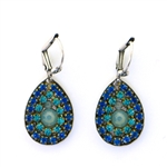 Clara Beau Royal Blue Teardrop Swarovski Crystal Earrings - Silver Tone