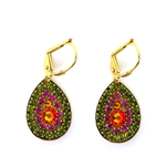 Clara Beau Olivine Fushia Teardrop Swarovski Crystal Earrings - Gold Tone