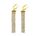 Clara Beau AB Swarovski Crystal Chain Tassle Earrings - Gold Tone