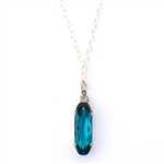 Clara Beau Pacific Blue Swarovski Crystal Necklace - Silver Tone