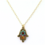 Clara Beau Hamsa Multi Color Swarovski Crystal Necklace- Gold Tone