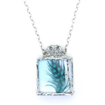 Cyndee Whitney Turquoise Guinea Hen Feather Necklace