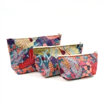 Dana Herbert Teal Flowered Cosmetic Bag Set