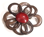 Tagua Open Flower Pink by Encanto Brown & Red