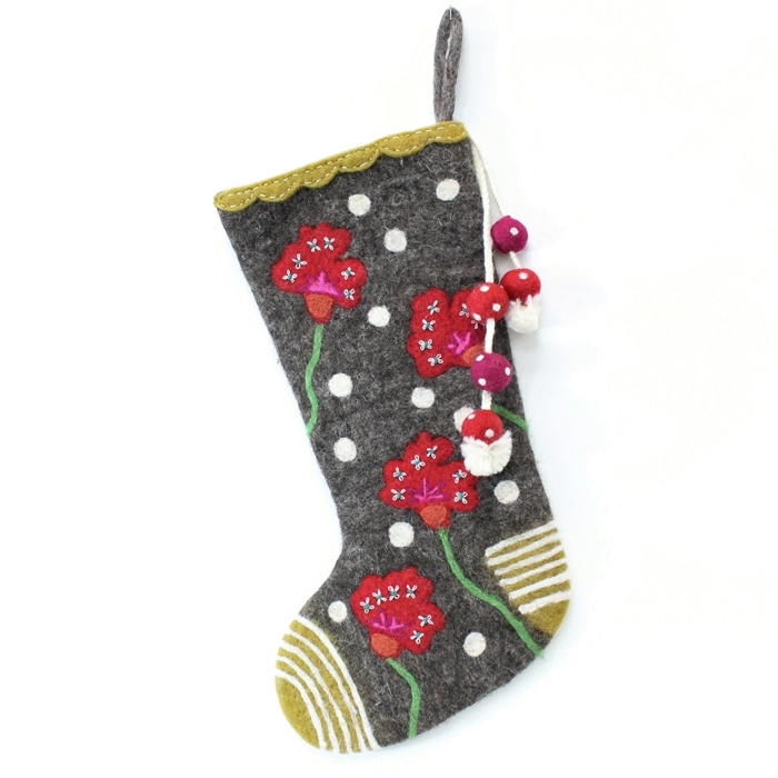 french knot garden stocking - Unique Christmas Stockings