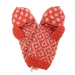 French Knot Dotted Diamond Mittens-Peach