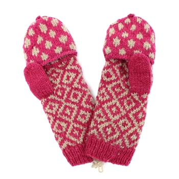 French Knot Dotted Diamond Mittens-Pink
