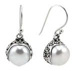 Indiri Freshwater Pearl Bali Silver Earrings