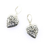 Indiri Sterling Silver Bali Heart Earrings