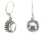 Indiri Mother of Pearl Granulated Silver Earrings