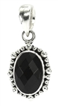 Indiri Black Onyx Oval Grandulated Silver Pendant