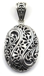 Indiri Sterling Silver Carved Filigree Pendant