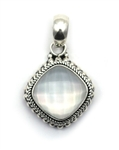 Indiri Mother of Pearl Granulated Silver Pendant