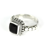 Indiri Black Onyx Granulated Silver Ring - Size 7