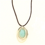 J & I Amazonite Brown Cord Necklace