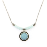 J & I Amazonite Oxidized Silver Necklace