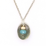 J & I Amazonite & Pearl Oxidized Silver Necklace