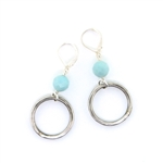 J & I Amazonite Silver Circle Earrings