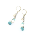 J & I Amazonite & Pearl Chain Earrings