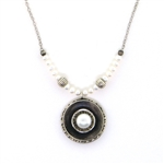 J & I White Pearl Silver Oxidized Necklace