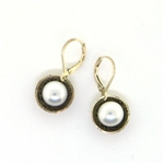 J & I White Pearl Oxidized Silver Earrings