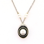 J & I White Pearl Oxidized Silver Necklace