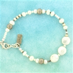 J & I White Pearl and Silver Beaded Bracelet