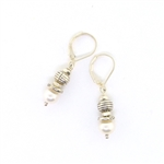 J & I White Pearl Drop Earrings
