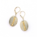 J & I Two Tone Oval Gold Wire Earrings