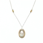 J & I Two Tone Oval with Pearl Necklace